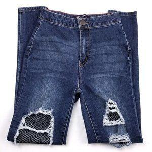 BBJ Fishnet Distressed Destroyed Skinny Jeans 5